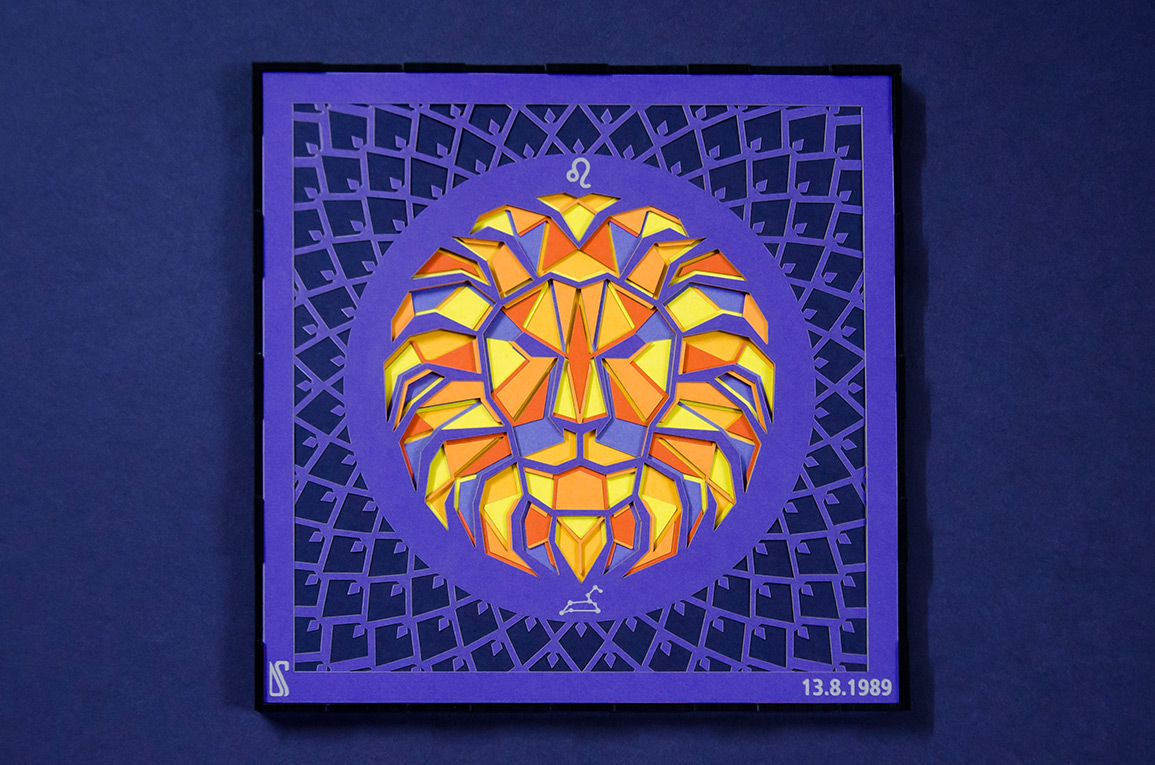 15.Paper cut artwork of Leo with violet highligting its royalty