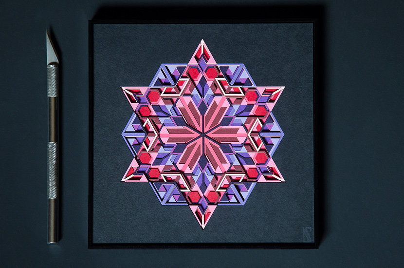 Amethyst crystal geometric Paper Art by Scaled Dimensions
