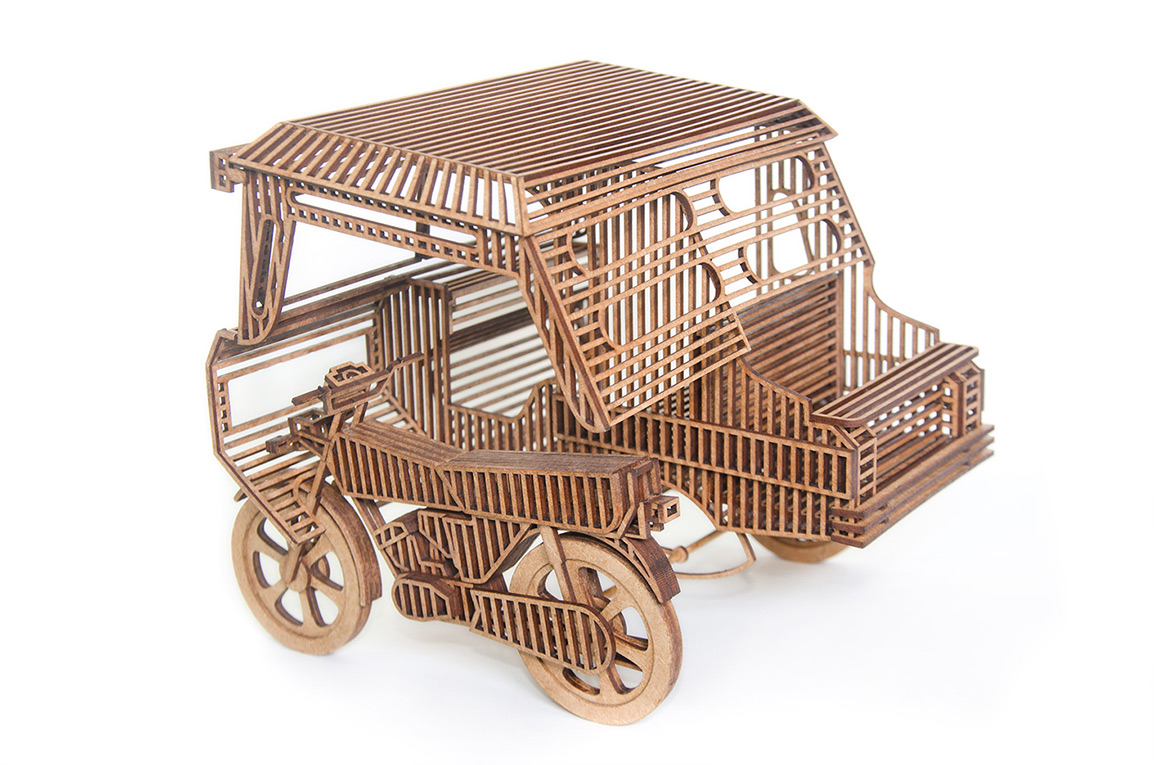 14.Wooden sculpture of Filipino 'Bike Taxi'