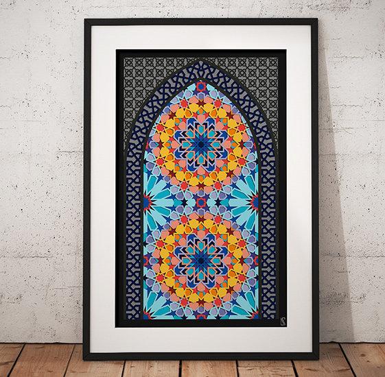 Framed Wall Print with Islam geometry by Zubin Jhaveri