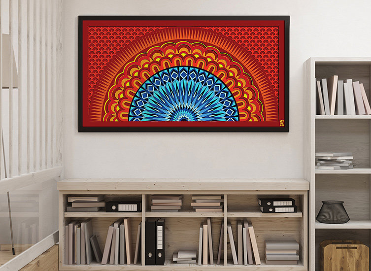 Abstract Sunset Illustration Wall Print in Living Room