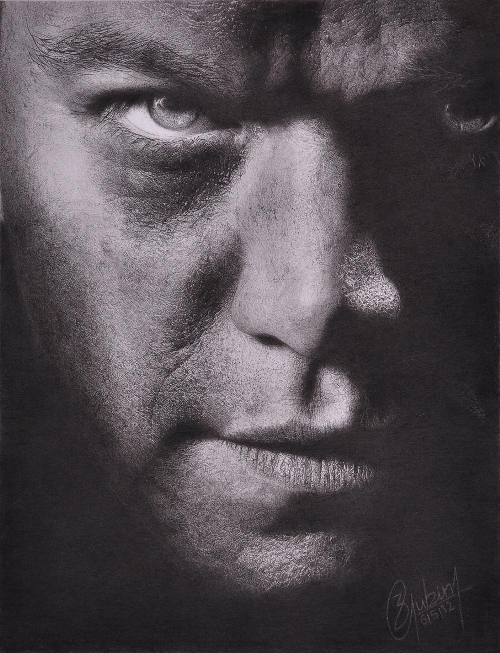 2.Photorealistic charcoal portrait  of Matt Damon's character Jason Bourn