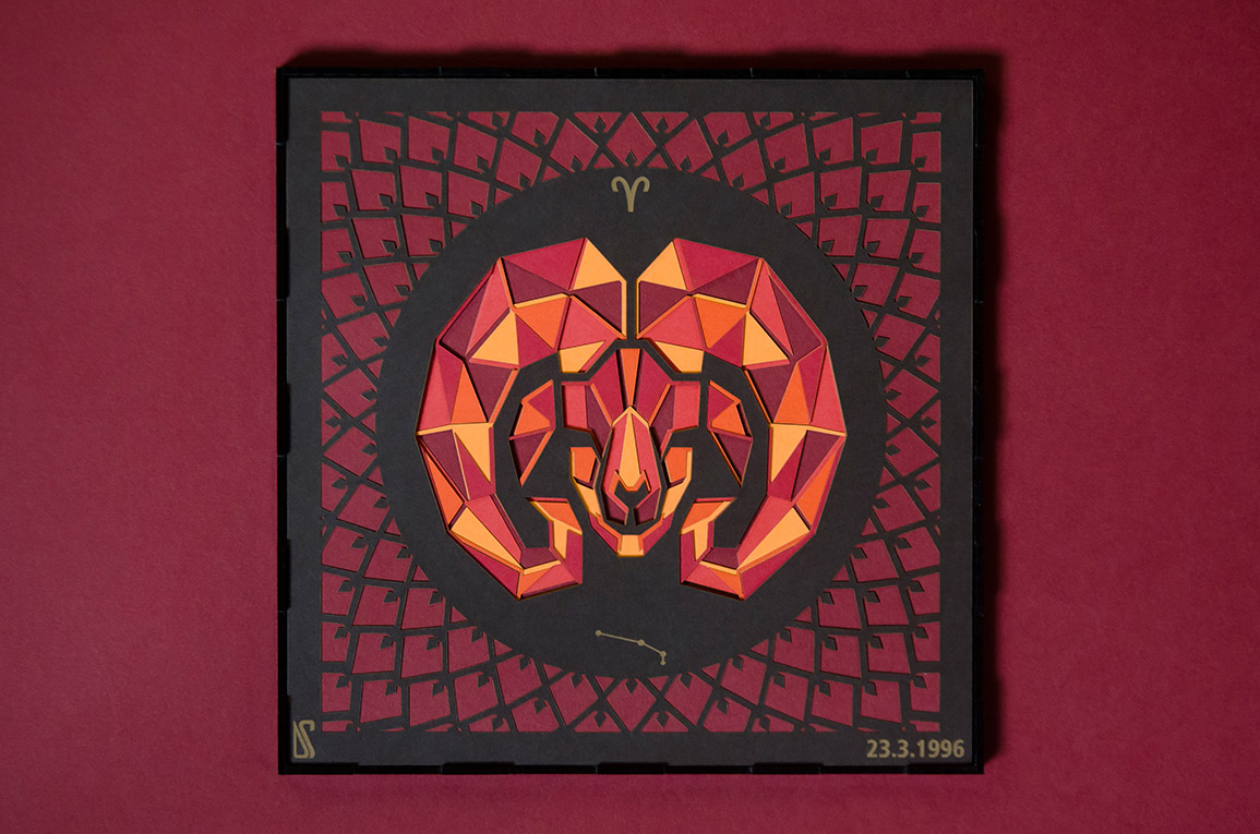 7.Papercut of the fiery red fire sign Aries.