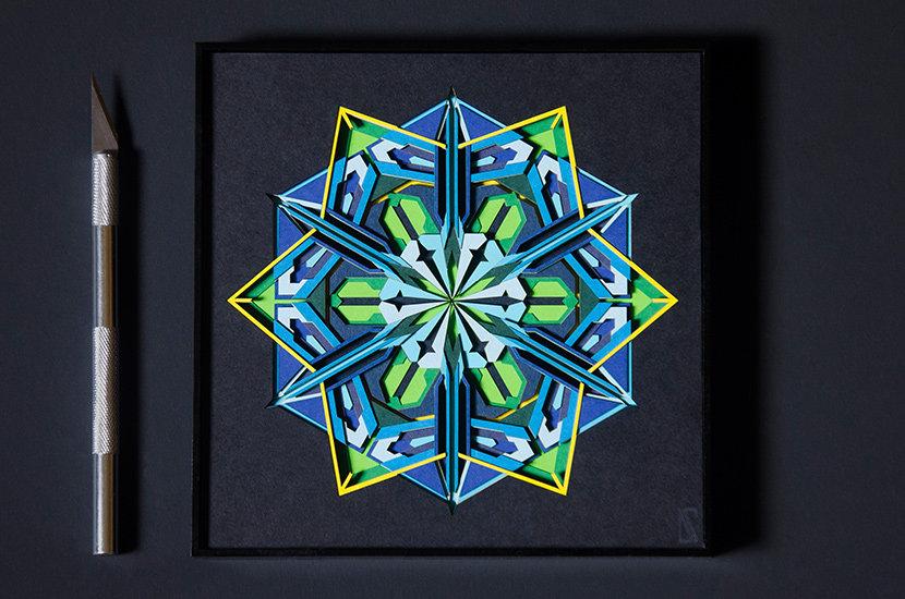 Snowflake geometry paper cutting framed artwork of Auroras