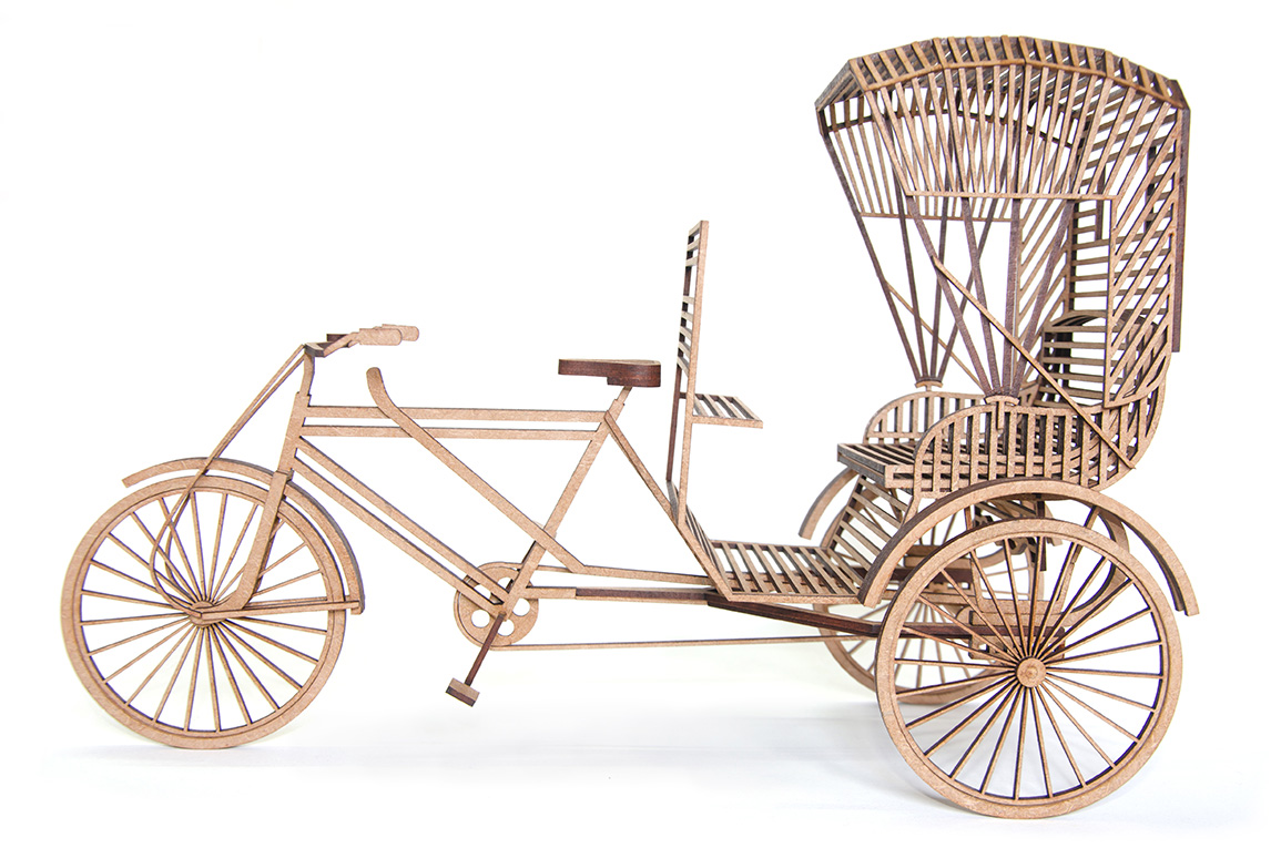 3.Indian triycle rickshaw wooden Scuplture made to the scale of 1:10