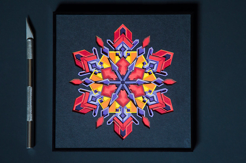 Geometric wall art based on snowflake structure made with paper