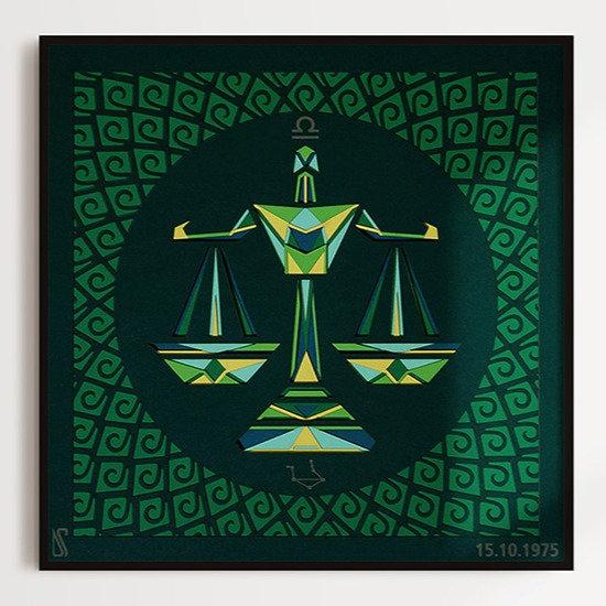 Libra zodiac sunlit wall art made by Zubin Jhaveri