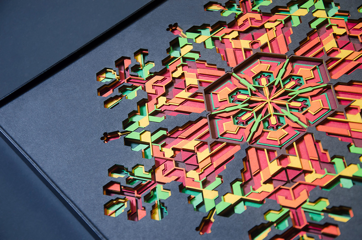 10.Closer look at intricately cut layers of 'Hibiscus' paper art.