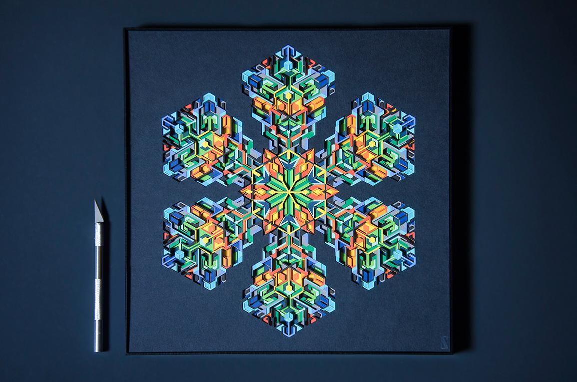 7.Geometric Paper Art titled 'Fusion'. Size 12' x 12'