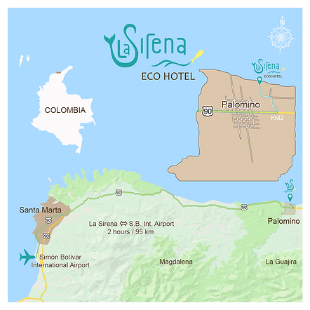 La Sirena Eco Hotel loaction and travel information map
