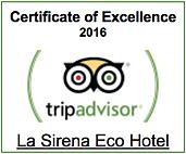 La Sirena Eco Hotel Trip Advisor Certificate of Excellence 2016