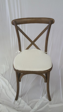 Cross-back Chair (Rustic Color) w/ Off White cushion 8 each