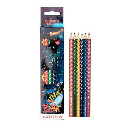 6 colored pencils- Deep Sea
