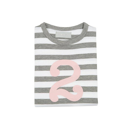 Grey Marl and White Striped Number 2 T-Shirt (Mallow)