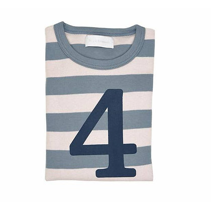 Slate and Stone Striped Number 4 T Shirt