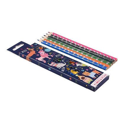 6 colored pencils- Pets