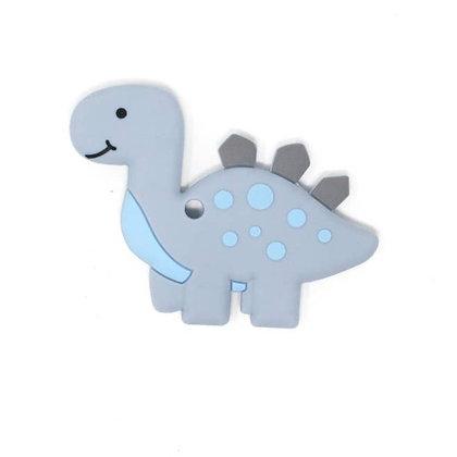 Dino Silicone Teether- Light Gray