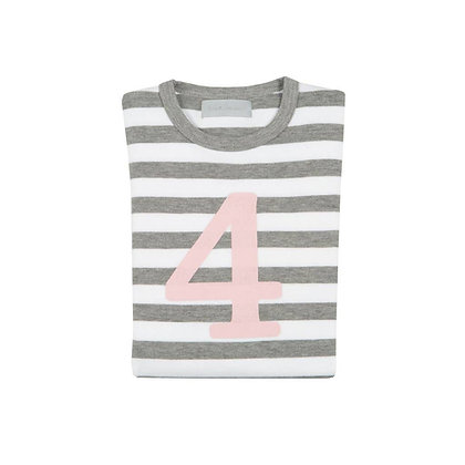 Grey Marl and White Striped Number 4 T-Shirt (Mallow)