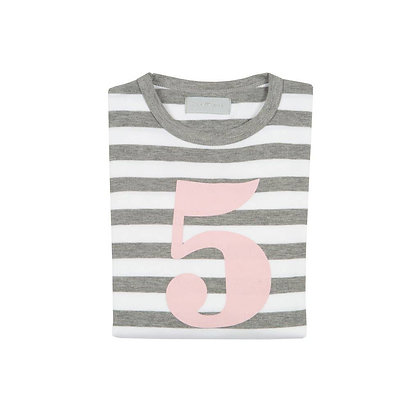 Grey Marl and White Striped Number 5 T-Shirt (Mallow)
