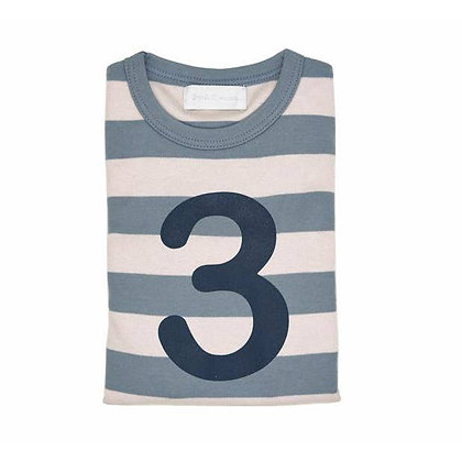 Slate and Stone Striped Number 3 T Shirt