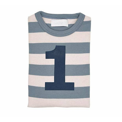 Slate and Stone Striped Number 1 T Shirt