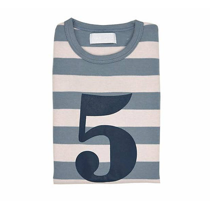 Slate and Stone Striped Number 5 T Shirt
