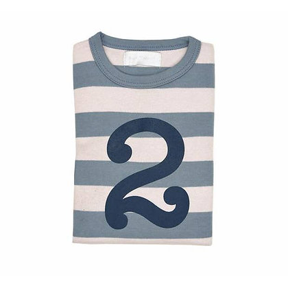 Slate and Stone Striped Number 2 T Shirt