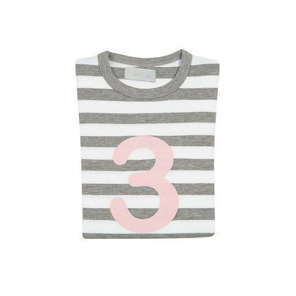 Grey Marl and White Striped Number 3 T-Shirt (Mallow)