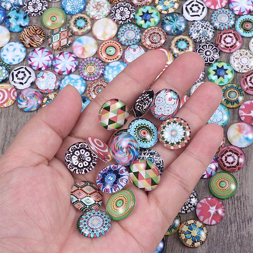 200pcs Mixed Glass Buttons Round Mosaic Glass Cabochons for Jewellery 12/14/16mm