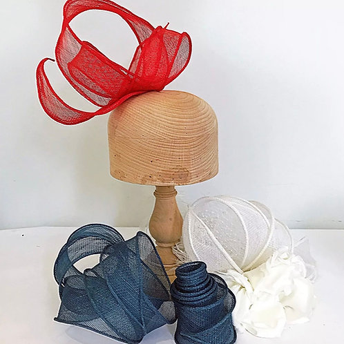Hand Rolled Sinamay Bias Ribbon Trim for Hat Making and Millinery
