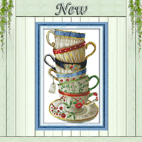 Elegant Coffee Cup Counted Cross Stitch Kit Print on Canvas DMC 14CT 11CT