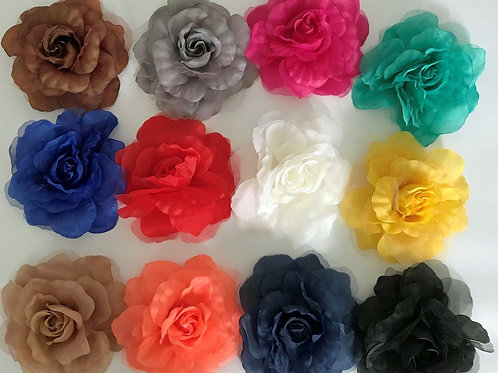 "'Rosie' Large Silk & Georgette 16cm (6"") Millinery Flower Hat Mount - 12 Colours"