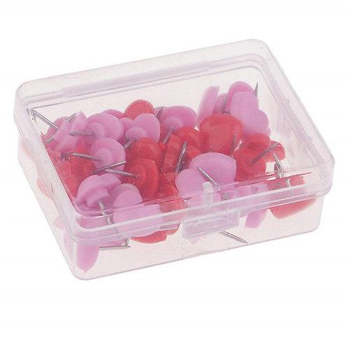 50pcs/Box Heart Millinery Pins Mixed Colours