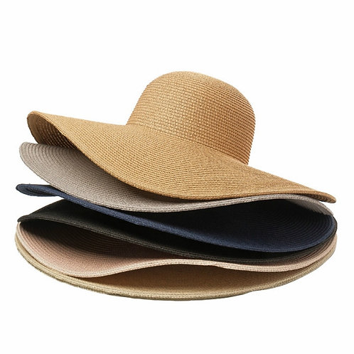 Solid Colour Straw Hat Women 50cm Wide Untrimmed