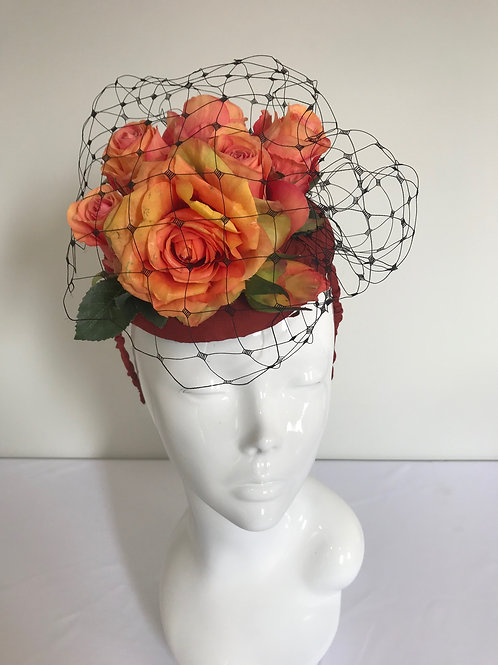 Coral's Russet Posy - Hat Couture