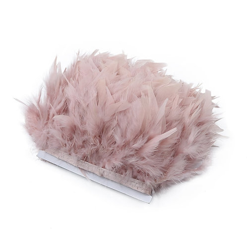 2m Turkey Feather Trim Fringe 10cm-15cm  Pink Chandelle Marabou Feathers