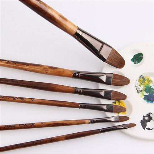 6pcs/Set High-Grade Weasel Hair Paintbrush Brush Set