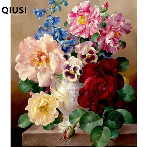 Cross Stitch Embroidery Kit Vase Rose Peony Flower Printed Pattern & Threads