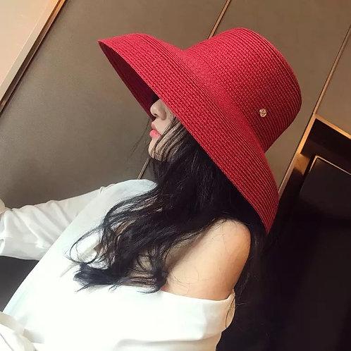 Elegant Large Downturn Brim Straw  Sun Hat