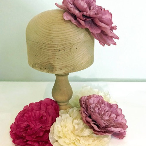 "Patsie - Large Silk 17cm (7"") Millinery Peony Flower Hat Mount - 2 Colours!"