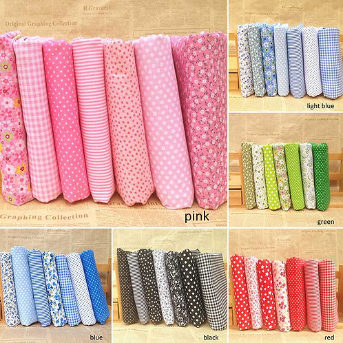 7Pcs/8pcs/Set Floral Print Sewing Patchwork Cotton Fats Mixed Patterns 25*25CM