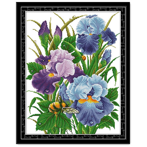 The Iris Flowers Cross Stitch Embroidery Kit 11CT 14CT Aida Fabric Print