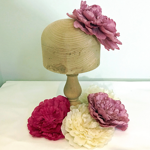 "Patsie - Large Silk 17cm (7"") Millinery Peony Flower Hat Mount - 2 Colours!"