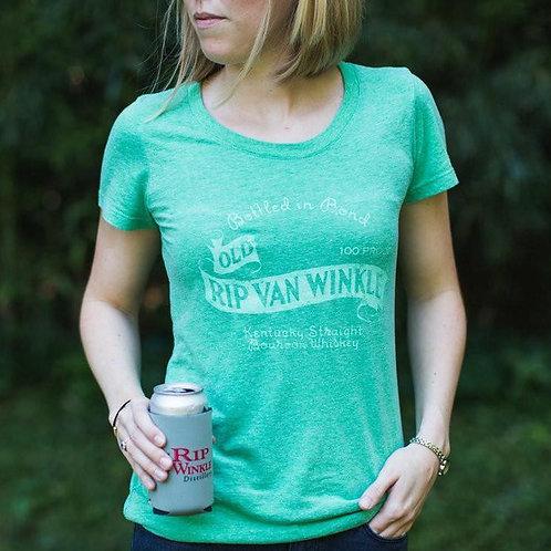 Women's T-shirt Vintage Bourbon Label in Green