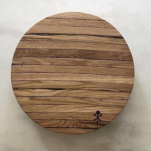 Bourbon Barrel Stave Cutting Board: Round