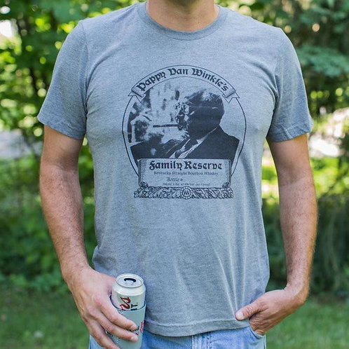 Men's T-shirt 23-year Pappy Bourbon Label in Grey Tri-blend