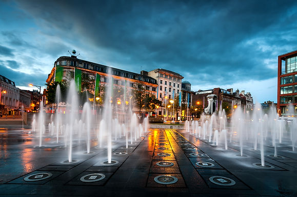 Fountains at Piccadilly garden in Manche