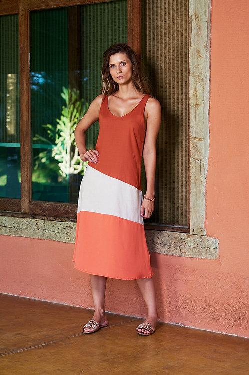 Vestido Midi Tricolor
