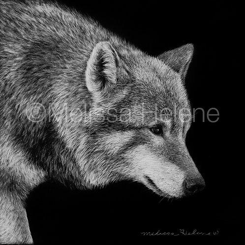 "Wolf | Original | 4""x4"""