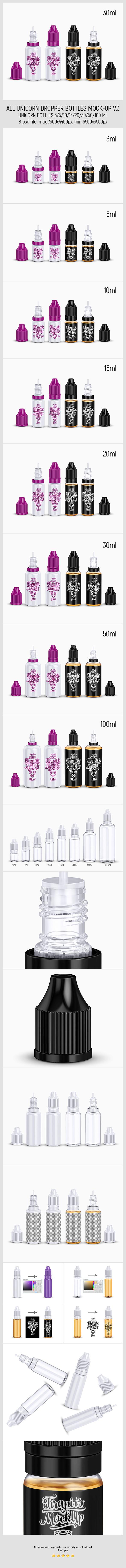 All Unicorn Dropper Bottles Mock-up v.3